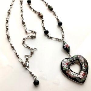 Vintage Cloisonné and Black Onyx Necklace